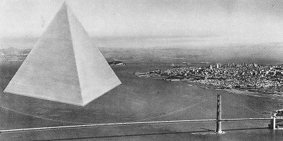 "The Triton Foundation / Buckminster Fuller proposal for a floating tetrahedral city in San Francisco Bay: From The Dymaxion World of Buckminster Fuller:  Such tetrahedronal floating cities would measure two miles to an edge, and can be floated in a triangularly patterned canal. This will make the whole structure earthquake-proof. The whole city can be floated out into the ocean to any point and anchored. The depth of its founda­ tions will go below the turbulence level of the seas so that the floating tetrahedronal is­ land will be, in effect, a floating triangular atoll. Its two mile long ""boat"" foundations will constitute landing strips for jet airplanes. Its interior two mile harbor will provide refuge for the largest and smallest ocean vessels.  From Cracked's list of ""The 6 Most Insane Cities Ever Planned"":  Triton anticipated a lower maximum population of just over 100,000 people, and was also to be the first fully organic city, complete with a desalination system to re-circulate ocean water. Schematics for Triton were sent to the United States Navy's Bureau of Ships, to check it for ""water-worthiness,"" stability and organic capabilities, then off to the Bureau of Yards and Docks to see whether or not they could even build this thing, specifically at the cost they had projected. Both Bureaus gave the thumbs up, and the Navy's cost estimate came within 10% of Buckminster's. And that's probably the craziest part of Triton: At every stage, it was going to work.  From the description of A Study of a Prototype Floating Community at Amazon: Triton was a concept for an anchored floating city for 100,000 people that would be located just offshore and connected with bridges to the mainland. When President Johnson left office he took the model with him and installed it in his Presidential Library in Texas. This is the complete design report. Now that's what I call a utopian impulse."