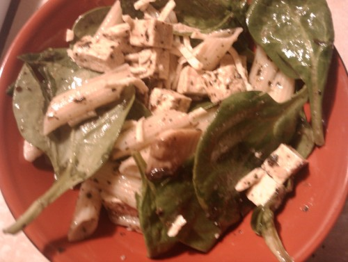 Pasta tofu salad! Pasta, pesto sauce, mushrooms, spinach, fried tofu, & daiya mozzarella cheese. I fried the tofu in olive oil & Italian seasoning & I tossed it all together! Yum!