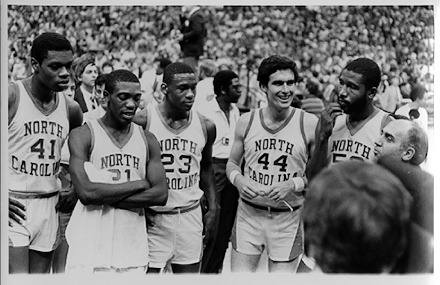 1982 National Championship team. Sam Perkins, Jimmy Black, Michael Jordan, Matt Doherty, James Worthy, and Billy Packer.