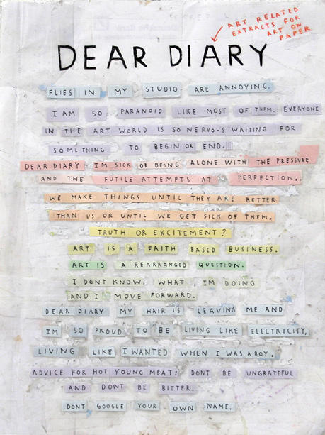SIMON EVANSDear Diary, 2008Pen, paper, scotch tape, white out9 3/4 X 7 3/4 inches