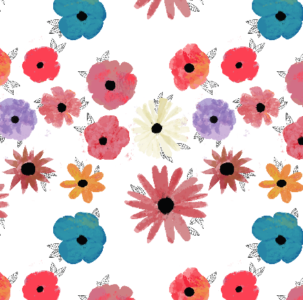 I've been doing more work on my watercolor flower pattern - I realized that I could make the watercolor part look like watercolors with all the flowers outlined.  Removing the outlines made a huuuge difference.  Plus I changed the background color…I did really like the charcoal gray, and how it looked with the pink/coral/red flowers, but again it made the watercolor texture too hard to pick up.  I just need to add a few more flowers to the composition, and some more little details, and maybe change the color of the off-white flower (it almost gets lost in the background, sadly) and I'll be ready to enter it in the contest!