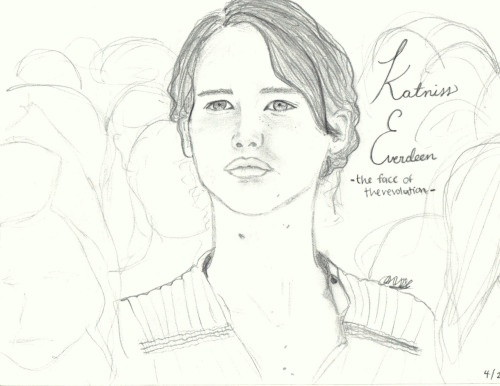 I felt like drawing Katniss after I saw the movie —- here is what I based it off of. I KNOW HER MOUTH IS OFF. I aint no artist and I didn't spent long on it. I just felt it, so I drew it.