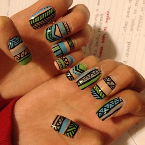 Three hours later…tribal print nails!!!!! Lol my first time tryin this cuz I was always too lazy haha not bad huh? #nails #tribal #tribalprint #tribalprintnails #time #consuming #finally #pretty #proud  (Taken with instagram)