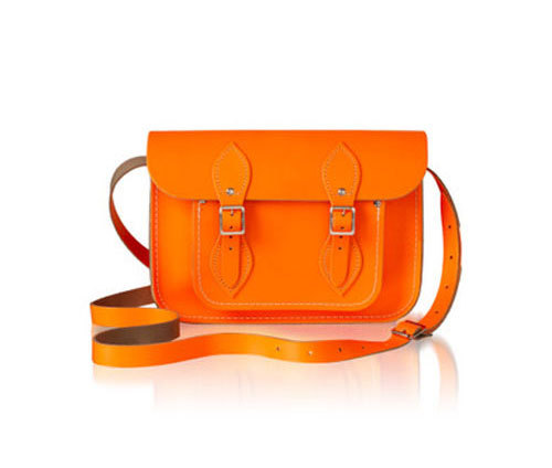 Flouro Satchel I just came across the lovely bags from Cambridge Satchel Company, and I'm loving the neon orange version. If you feel like fancy fucking it up take advantage of their embossing service for a personalized touch.