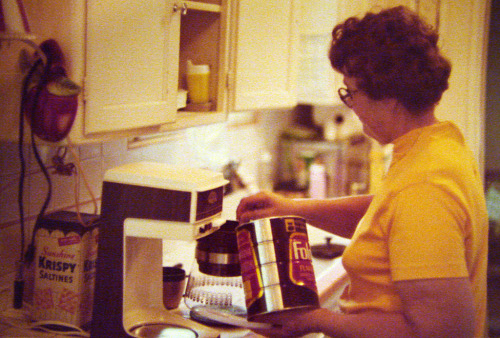 Grandma Emma making coffee in about 1978.