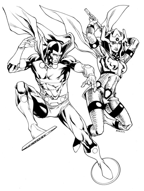 thehappysorceress:  Mr. Miracle and Big Barda by Robert Atkins