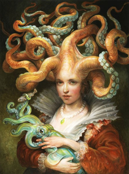 Contessa with Squid by Omar Rayyan Prints available at etsy. The 17th-century octopus Contessa dressed in her finest court attire with her beloved squid.  Artist: website / blogspot (via: meh.ro)