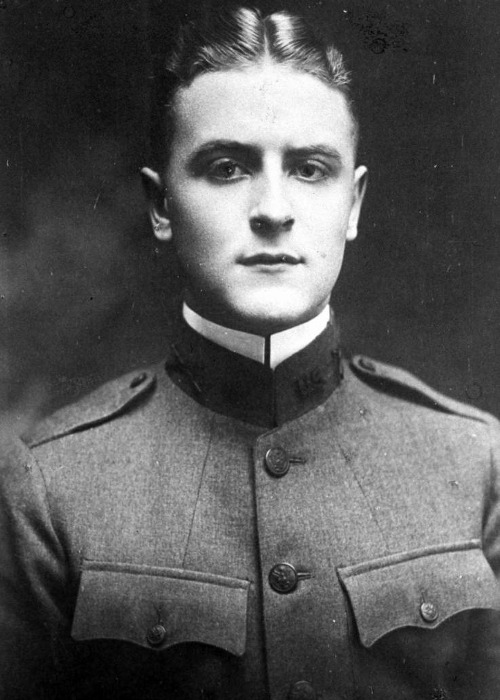 "1917, ""Great Gatsby"" genius F.Scott Fitzgerald's military portrait. I know he purchased the uniform for this photo at Brooks Brothers, was very excited to go to battle, but never ended up serving. It was a regret that supposedly haunted him his whole life, never being in a war. Anyhow, he's adorable if you ask me. Submitted by wendyhallphotography"
