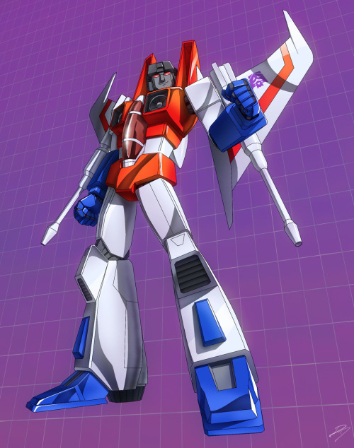 angelophile:  Starscream by *EastCoastCanuck on Deviantart.  Why the fuck would I run from a hottie like Starscream? I mean, look at him. He's gorgeous. No way I'd get stuck in both modes and run from him. No fuckin' way.