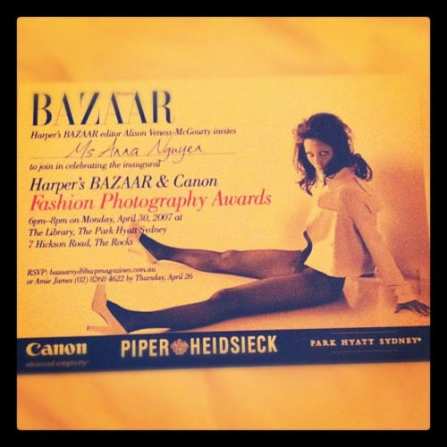 My first fashion mag event 5 years ago with @bazaaraustralia #mail #invite #fashion #event #photography #model #aprilphotoaday  (Taken with instagram)