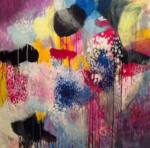 "NEW on ARTchipel Cristina B (Switzerland) - Jellyfishes at the disco. Acrylic and pencil painting on canvas, 40"" x 40"", original available here > [Cristina B on ARTchipel.com]"