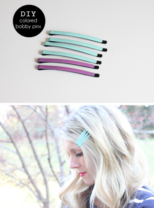 truebluemeandyou:  DIY Colored Bobby Pins. I've posted on using nail polish and bobby pins before, like these color blocked ones here, but really like the color of these ones. I also like her inspiration photos. How-to from with an i.e. here.