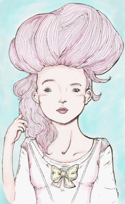 tumblropenarts:  Marie Antoinette; by Asaph Luccas.  Am I the only one who sees Effie Trinket???