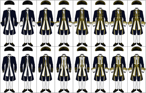 capngrimbeard:  Knowin' th' ranks o' fancy navy officers in th' like be an important thin' fer any seafarin' hearty worth the'r salt! The uniforms are, from left to right:- Midshipman- Lieutenant- Commander- Captain, Under Three Years Seniority- Captain, Over Three Years Seniority- Rear Admiral- Vice Admiral- Admiral  Uniform map.  In the navy apparently brocade = swag