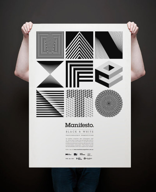 "Manifesto. Identity Design by Josip Kelava, an art director, graphic designer, illustrator and photographer from Melbourne, Australia.  ""Manifesto is a black and white photographic competition for university students studying Photography in Melbourne. Being a B+W competition, I decided the entire collateral should be used in only two colours, black and white. Working with negative space and contrast, the designs were created to entice the viewer's participation in comparing various components while adding variety to the total design. The contrast from these two colours inspired me to create geometric optical art that gave the designs a sense movement, rather than something static. Thus Manifesto was created, concerning the interaction between illusion and picture plane, between understanding and seeing.""  via: WE AND THE COLORFacebook // Twitter // Google+ // Pinterest"