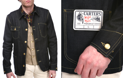 "Carters - SS12 Union Jacket Cone Denim Indigo // History For over 152 years, H.W. Carter & Sons has been a symbol of quality, durability and character in the manufacture of denim sportswear. Established in 1859 by Henry W. Carter in Lebanon, New Hampshire, H.W Carter & Sons has a deeply-rooted history in the growth of America. By 1890 H.W. Carter & Sons became the premier manufacturer of denim overalls and work wear. Carter's Overalls were famous throughout the northeast. After the purchase of the Watch the Wear Overall Company of the Keene, NH in 1929, ""Carter's Watch the Wear"" became the official trademark used on all products. What was once designed for the men who built America by hand, to the families of today who keep America thriving, H.W. Carter & Sons proudly enters a new chapter in history while keeping the spirit and principles of Henry W. Carter alive."