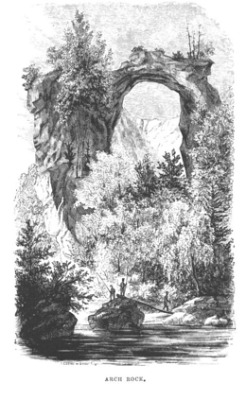 Historic 1800's artwork depicting Arch Rock on Mackinac Island. (via History of Mackinaw Mill Creek Camping)