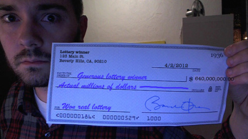 "slacktory:  A Message From the Guy Who Won the Lottery and Wants to Share His Money With Everyone on Facebook by Henry Birdseye I just want to change the world with this money. I could donate it to a charity, but what is a charity, really? A bunch of strangers who give your money to even more strangers? No thank you! I only deal with first-degree strangers!  Have any of you see the Facebook meme about the lottery winner that's been going around for the last 2 days? Basically it's a grainy webcam photo of a bearded white guy holding a winning Mega Millions ticket. The caption reads, ""This dude actually won and hes planin on splittin a little with anyone who shares his update sooo im sharing."" It is the stupidest thing I have ever seen. It's also been shared tens of thousands of times. So, last night I took a crappy webcam photo of myself holding a blank check, then photoshopped some fake information onto it, and wrote the above post about a lottery winner who wants to share his money with total strangers. It's all deliberately absurd. I talk about flying to people's houses on a jet, and I brag about owning a laser printer. The zeros on the check run onto my hand, and the check itself is signed by Barack Obama. And people still aren't getting it. Which is fine, I guess? There's something sweet about people wanting all of this stuff to be real. It reminds me of little kids believing in Santa, only this time it's grown adults, and Santa is a sneaky jpeg. Either way, both parties should be able to verify whether it's a hoax or not. (Hey CHILDREN, it's called GOOGLE. ASKJEEVES IT.) Anyway, I've made a public Facebook post on Slacktory that's very similar to the original hoax photo. You can share it if you want, ideally with a caption like ""oh man i hope its true!!!"" Consider it an experiment: Will your friends get the joke, or will they pass it along without realizing the check's memo says, ""Won real lottery""?"