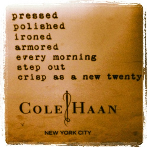 The aforementioned.  dots-connected:  This Cole Haan #nyc #subway ad reminds me of @onlyoneeye  (Taken with instagram)