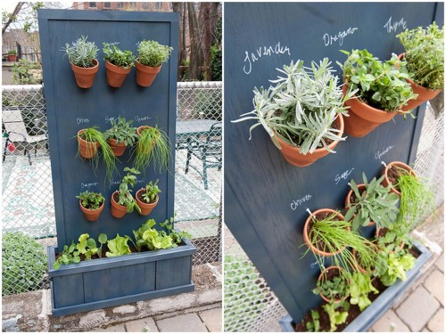 DIY Vertical Garden Using Precut Wood. I don't normally post projects that use drills, but I loved this vertical garden and the wood is precut making the project easier. Detailed tutorial from Brooklyn Limestone here.
