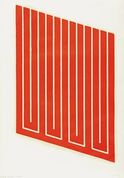 bildwerk:  DONALD JUDD Untitled: one plate, 1961-63/1968-69 Woodcut in cadmium red, onCartridge paper, with full margins, I. approx. 25 x 16 in (63.5 x 40.6 cm); S. 30 1/2 x 22 in (77.5 x 55.9 cm)