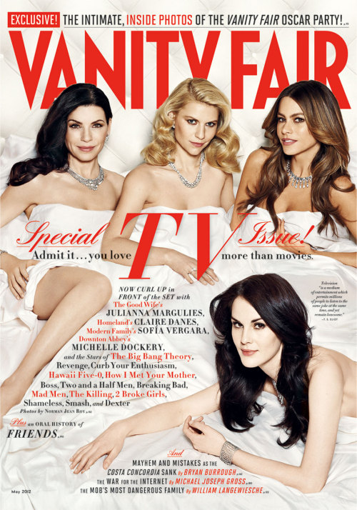 The Misses of May! Our TV issue stars Julianna Margulies, Claire Danes, Sofia Vergara, and Michelle Dockery. Click to see bigger and watch video of their bedroomily dreamy shoot. Photograph by Norman Jean Roy.