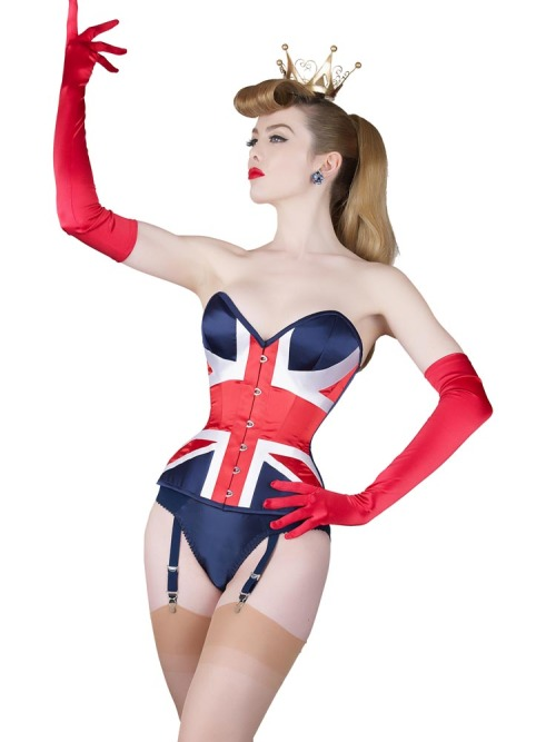 Last year, to celebrate Kate n' Will's wedding we made a Union Flag corset for our shop windows. It was only ever meant to be a display item, but our atelier took it very seriously and the end result was stunning. We've revisited it this year, in preparation for the Queen's Diamond Jubilee, but have made it even more spectacular in our super curvy extreme Laurie cut.