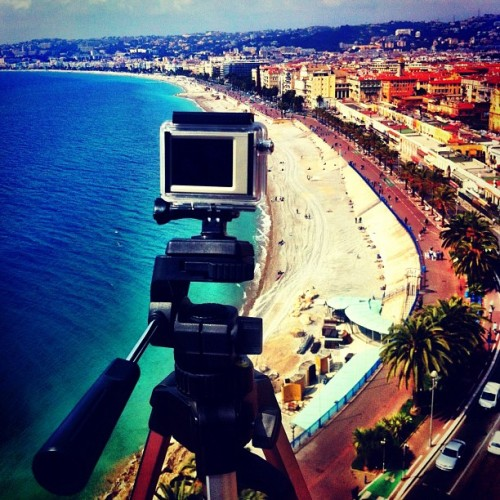 Another GoPro Timelapse in the works… #timelaspe #recording #filming #tripod #sea #coastline #cotedazur #nice #nizza #france #gopro #hero2 #iphone4 #iphoneonly  (Taken with Instagram at Panorama de La Baie Des Anges)
