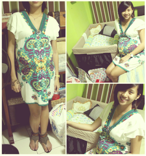03.31.12 sat | 35 weeks At our gummy bear's baby shower wearing my mom's dress. I was so worried for this day because A LOT of our guests cancelled the last minute. So glad that at least half did make it even if some of them came very late. Thank you so much guys and gals! You don't know how much we appreciate it. :D BTW, we had our checkup that morning and our doctor said that our 'lil one's doing great with her beautiful heartbeat and cephalic position. Her head is already resting low though. Gotta take it easy on the walks so that we'll make it to full term. :)