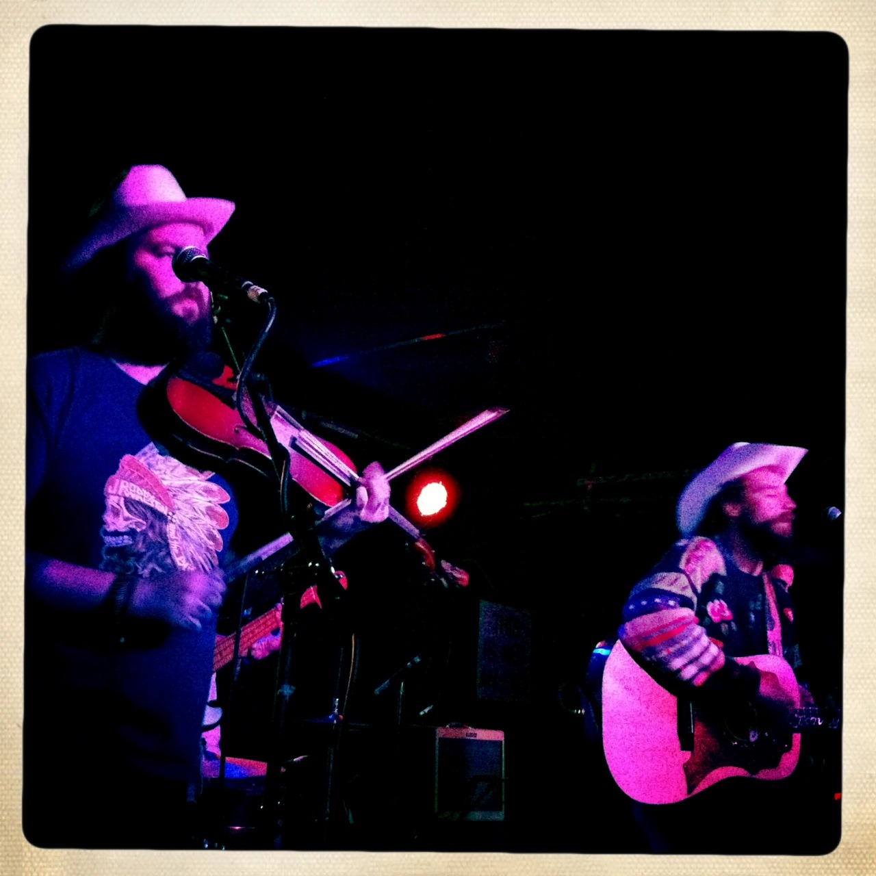 Jonny Corndawg and fiddle player Josh Headley!  Wish I had a better picture of Jonny's sweeter. Amazing show at Mercury Lounge!