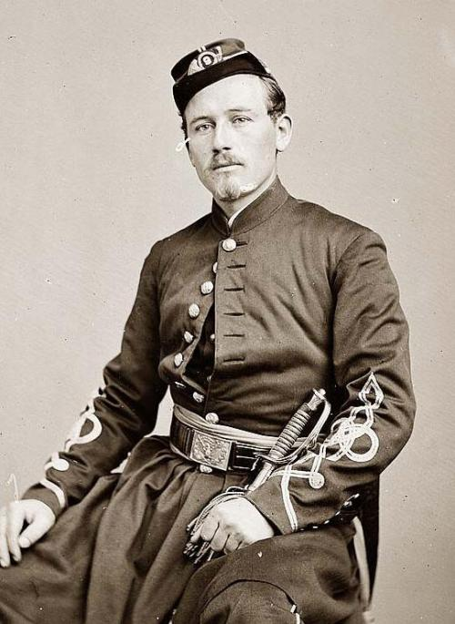 silentcuriosity:  Lieutenant Robert McKechnie  9th New York Infantry. It was created between 1860 and 1865 by Mathew Brady Photo Source http://www.old-picture.com/civil-war/Lieutenant-McKechnie-Infantry-Robert.htm