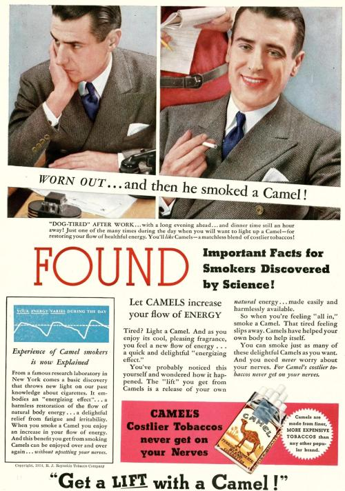 nwkarchivist:  FOUND: Important Facts For Smokers Discovered By Science! Newsweek July 28, 1934  Well, I suppose it's true one need never worry about one's nerves, at least.