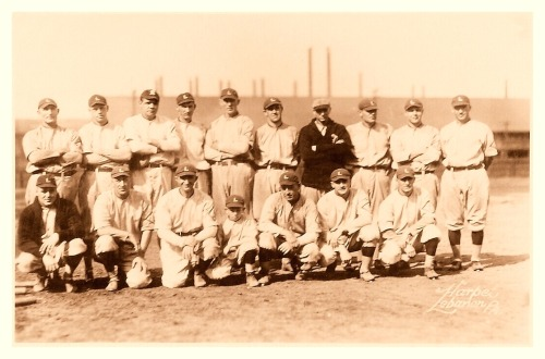 "Babe Ruth & The Bethlehem Steel League - October 1918 This remarkable and rare picture features Babe Ruth standing in the back row (3rd from left). Also present in the picture is Shoeless Joe Jackson kneeling in the front row (also 3rd from left). The Bethlehem Steel League was controversial because it provided a way for ballplayers to fulfill their duty of the US regulation to ""Work Or Fight!"" during World War I. Of course, most of the work the men did was related to playing baseball for the league, which didn't sit well with many Americans who actually had to serve in the military."