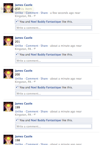 Today, James Castle is attempting to count to infinity on facebook. I believe in him.