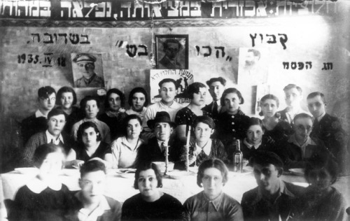 Kibbutz 'HaKovesh' celebrating the Passover seder, Seduva, Lithuania, April 18, 1935 Happy Passover!