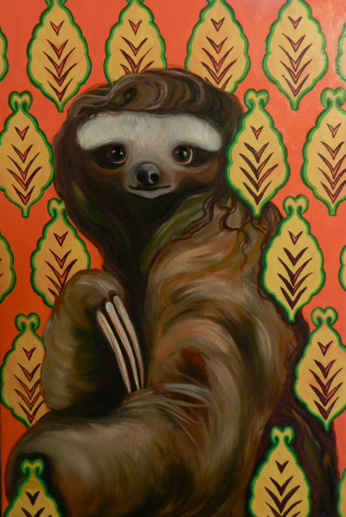 "eatsleepdraw:  ""Harriet"" 24x36"" oil on canvas I love sloths. I would like to meet one someday."