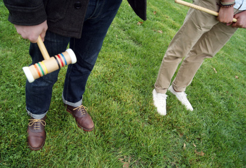 Standing around during croquet last weekend. James is probably making fun of Paul's astonishingly bad croquet game.
