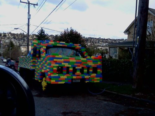"Lego Truck   ""Looks like you've got some damage in the back. I can repair it, but I'm all out of red bricks.""   [Like following us on Tumblr? Join the party on Facebook!]"