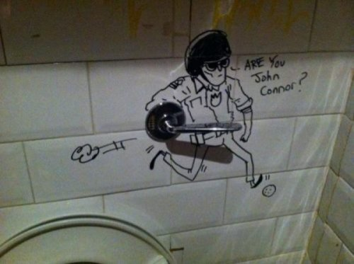 collegehumor:   Terminator Bathroom Graffiti   Man, the T-1000's career has really gone down the toilet. [via]