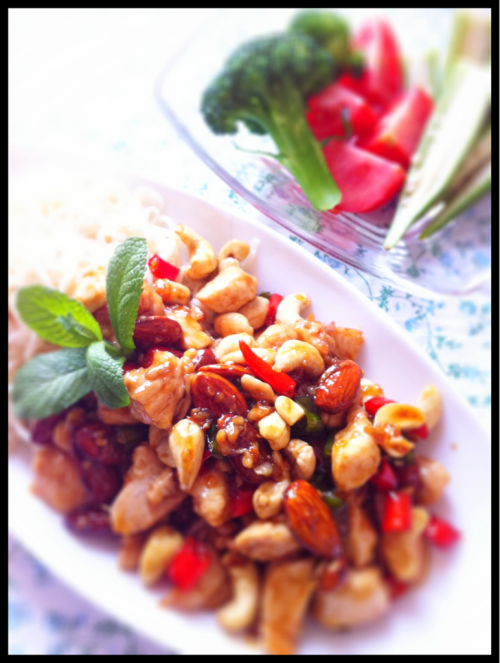 Crazy hot n' spicy chicken nuts sauté !  This my original dish is F.ckin' spicy hot!! But yummy also, I couldn't stop eating even fire in my mouth!! ADDICTING!! LOL