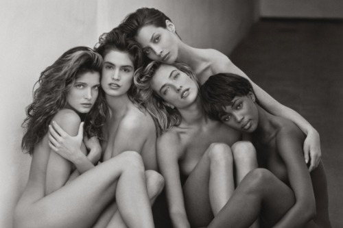 "newsweek:  This cluster of nude supermodels is one of many photographs from iconic photographer Herb Ritts's new L.A. Style exhibition at the Getty Museum in Los Angeles.  Madonna on being ""Herbified"":  It goes a little something like this: He talks you into going to the beach. Then, he talks you into taking off your clothes. He talks you into dancing and frolicking in the sand like an idiot. He talks you into getting into the freezing cold ocean, and before you know it, you have a sunburn and you're freezing your ass off and you're sure you've just made a huge fool out of yourself."