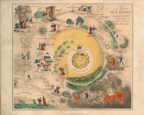"ransomcenter:  ""Plan of the Road from the City of Destruction to the Celestial City"" from the 1833 edition of The Pilgrim's Progress. In the galleries: This colorful map helps readers make their way through John Bunyan's ""The Pilgrim's Progress.""  Oh my God, if only we'd had this awesome map to look at while my teacher read The Pilgrim's Progress to us. In first grade."