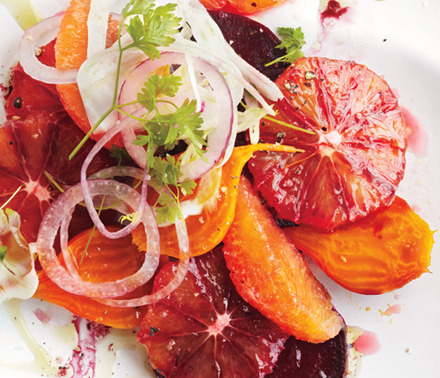 epicurious:  Healthier choices as we approach beach season: Blood Orange, Beet and Fennel Salad