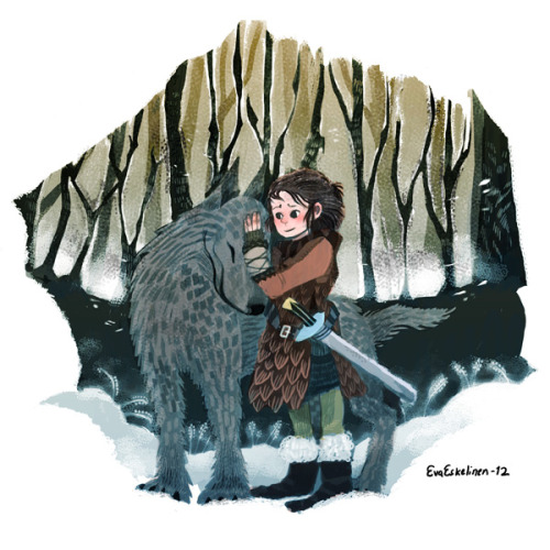 "dodostad:  evelmiina:  ""Nymeria"". Arya Stark and Nymeria from ASOIAF.  rEALLY GOOD EVA! i love the asoiaf stuff you've done recently, you portray the characters so well hnnngh"
