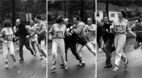 The First Woman to Enter the Boston Marathon In 1967, Katherine Swetzer was the first woman to enter and finish the Boston Marathon.  And she finished in 4:20! The photos shows one of the race organizers, Jock Semple (i wonder if the jock strap was named after him), trying to push her off the course demanding that she give him back the numbers, and her then-boyfriend, Thomas Miller, blocking him.  I read (not in this article) that for the rest of the race, her friends that were also running created a barricade around her so she could safely finish. 5 years later, women were allowed to officially enter the race. WOW!