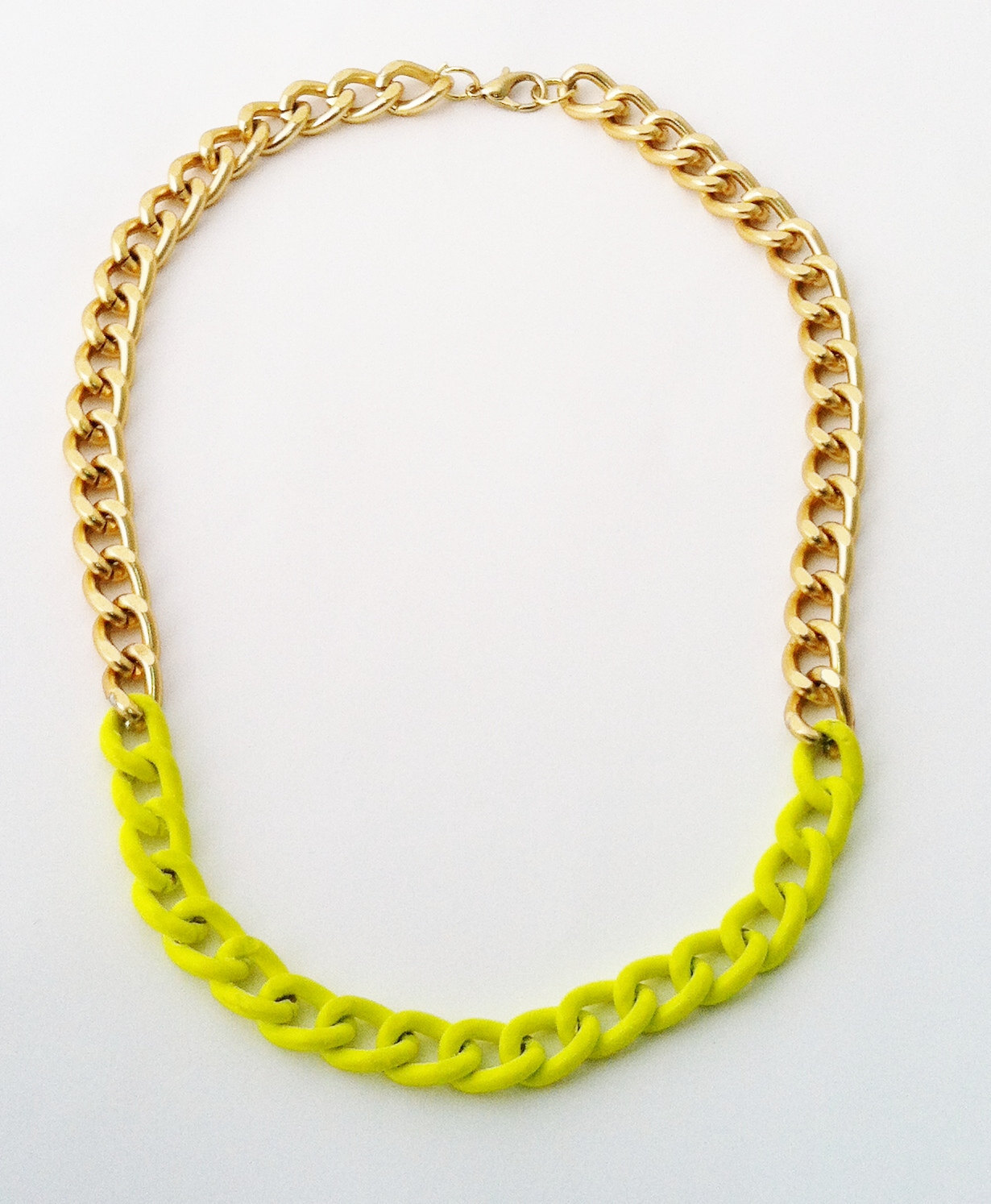 Neon Yellow and Gold Mixed Chain (only $19 on Etsy!)