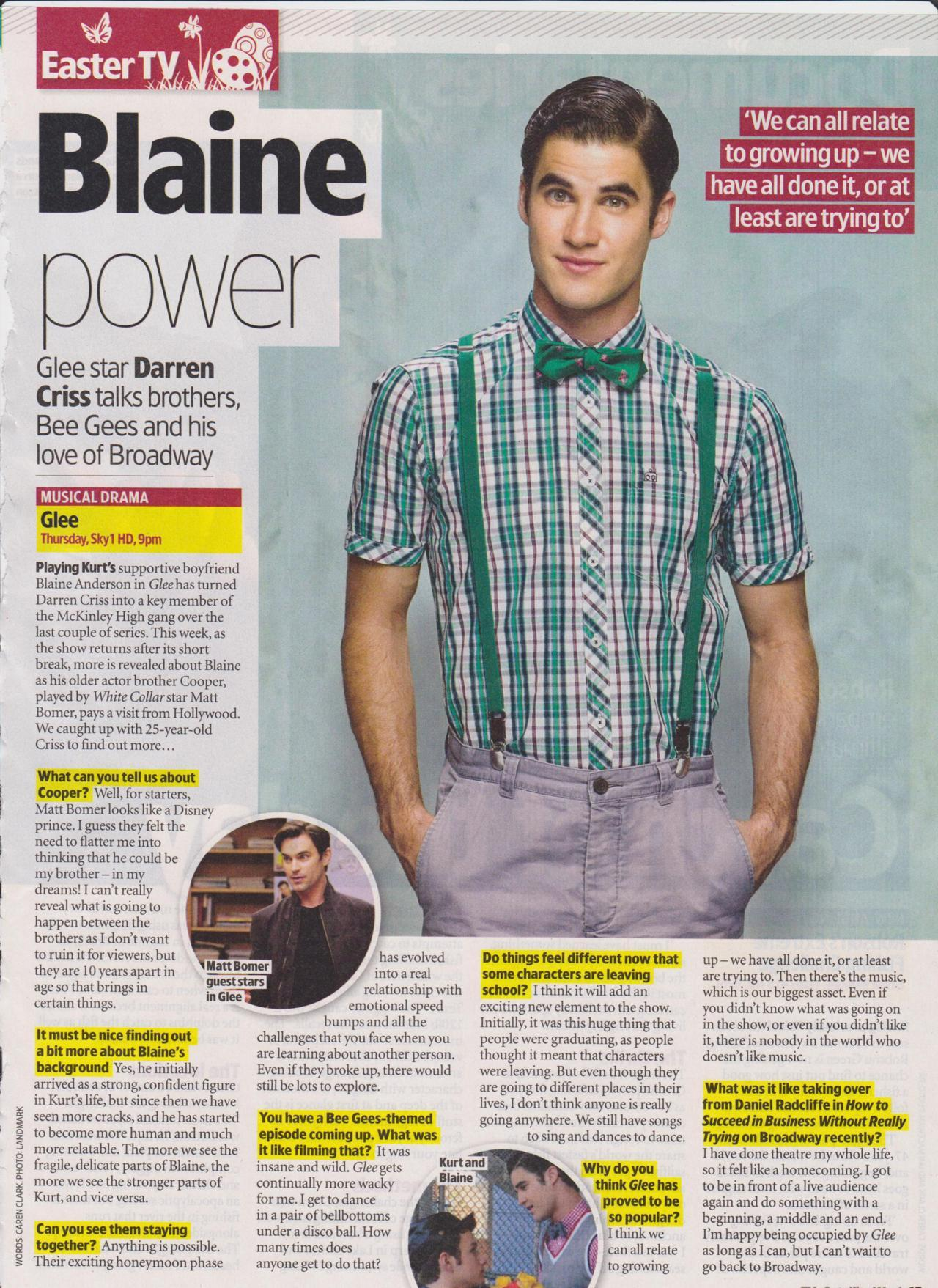 tvobsessedteenager:  Darren Criss in TV and Satalitte Week (UK)