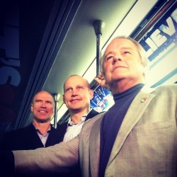 Mark Messier, Adam Graves and Rod Gilbert on board the Rangers playoff train (Taken with instagram)