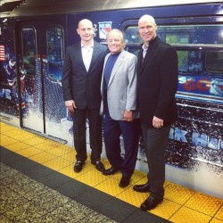 Adam Graves, Rod Gilbert and Mark Messier unveil the Rangers playoff train  (Taken with instagram)