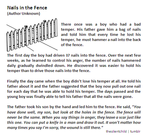 "thesilentchild:  Short Story: ""Nails in the Fence"""